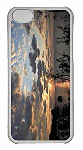 iPhone 5C Case, Personalized Custom Beach Scene Sunset 7 for iPhone 5C PC Clear Case