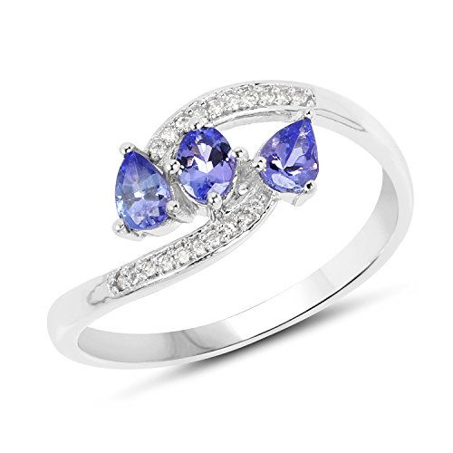 14K White Gold Tanzanite and White Diamond Ring (0.51 cttw, I-J Color, I2-I3 Clarity) from ()