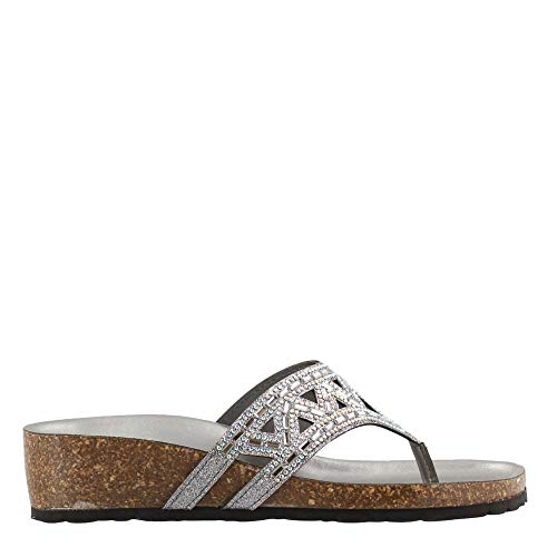 ITALIAN Shoemakers Women's Emilie Flat Sandal Pewter 10 M ()