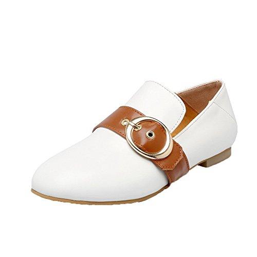 Amoonyfashion Solid Dames Pu Lage Hakken Gesloten-teen Pull-on Pumps-schoenen Wit