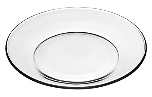 Libbey Crisa Moderno Glass Plates Box of 4 Salad/Dessert 7-1/2 Inch Clear