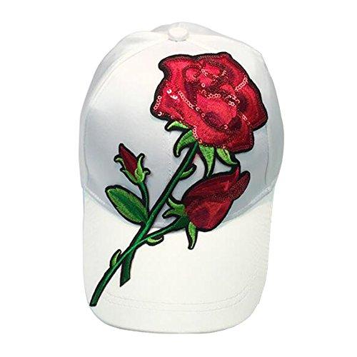 Golf Leather Visor - Gebaozhen Women Rose Embroidered Adjustable Dad Hat, Cute Baseball Sun Visor Cap (White)