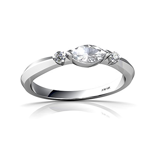 (14kt White Gold White Topaz and Diamond 6x3mm Marquise Art Deco Ring - Size 8.5 )