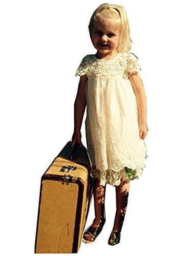 Bow Dream Flower Girl's Dress Vintage Lace Cream Ivory 4T