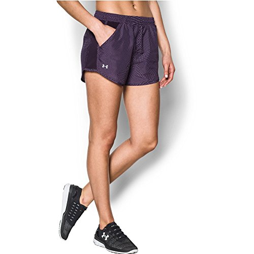 Under Armour Women's Fly-by Perforated Shorts, Imperial Purple (171)/Reflective, X-Large