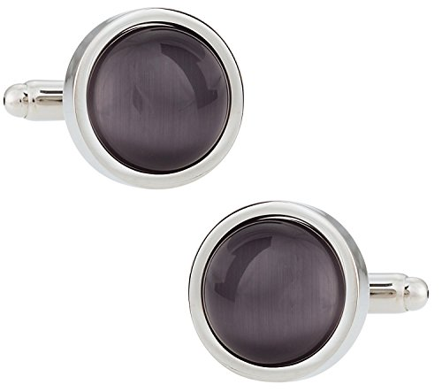 (Cuff-Daddy Timeless Round Gray Catseye-style Cufflinks Framed silver-tone)