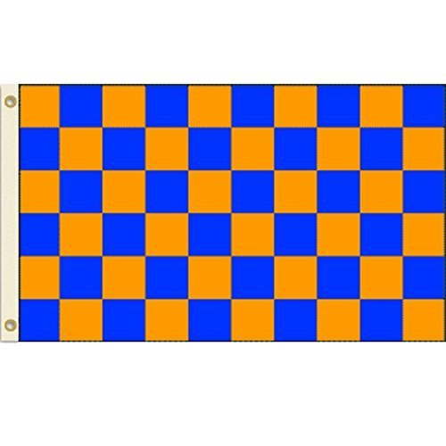 Blue and Orange Checkered 3x5 Polyester Flag by Vista Flags