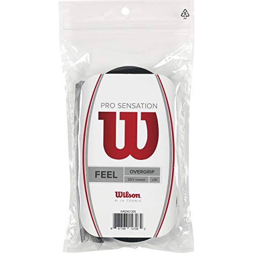 Wilson Pro Sensation Overgrip (30-Pack), Black (Best Overgrip For Tennis Racquet)