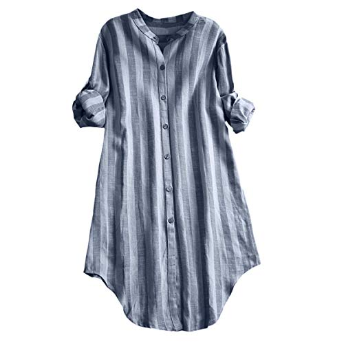 Pongfunsy Women Plus Size Blouse Summer Button Up Pullover Ladies Cotton Striped Top Casual Tunic T Shirt (L, Blue)