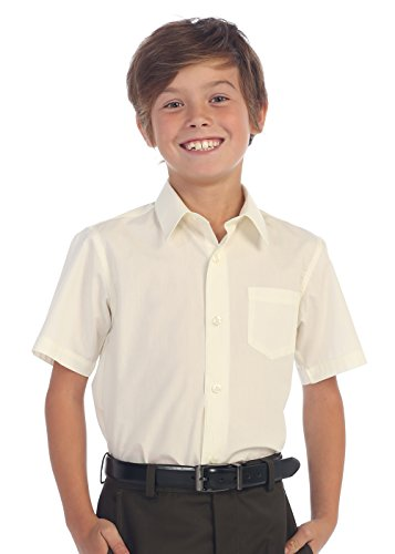 Gioberti Boy's Short Sleeve Solid Dress Shirt, Ivory, Size 8
