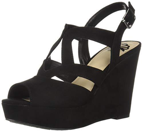 Fergalicious Women's Marcy Wedge Sandal Black 8 M - 4 Inch Shoes Wedge