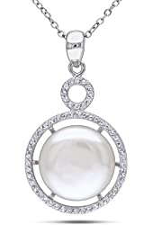 Sterling Silver 14.5-15.0 mm White Freshwater Pearl and White Topaz Pendant 18''