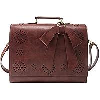 "ECOSUSI Ladies PU Leather Laptop Bag Briefcase Crossbody Messenger Bags Satchel Purse Fit 14"" Laptop, Brown"