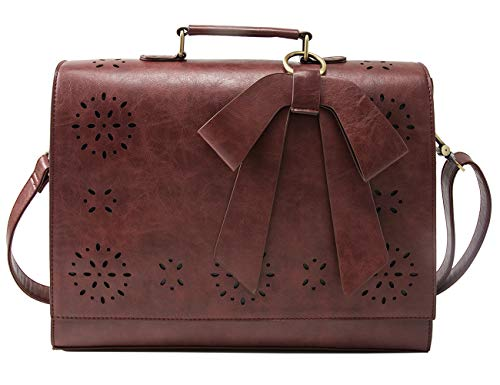 ECOSUSI Ladies PU Leather Laptop Bag Briefcase Crossbody Messenger Bags Satchel Purse Fit 14 inches Laptop, Coffee