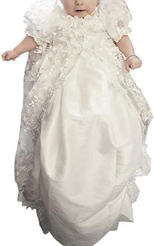 Stunning Baby Lace Satin Christening Dress Baptism Gowns with Bonnet 3-24M