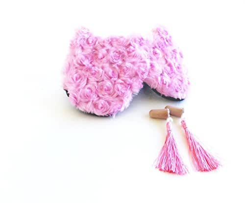 Pink Furry Cat Sleep Mask Tassel Ear Plug Eye Shade Travel Mask Super Comfortable Durable Eye Mask Blindfold.