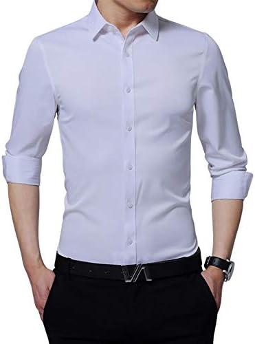 Camisa Formal de los Hombres, Color sólido Camisa de Manga ...