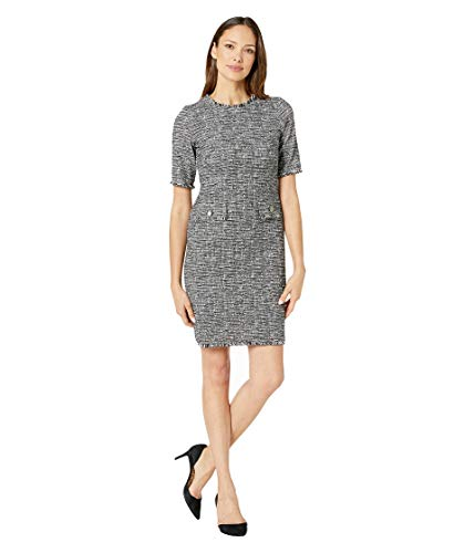 Taylor Dresses Women's Short Sleeve Textured Shift Dress, Black Ivory, 14