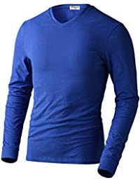 Men's 100% Cotton Slim Fit Long Sleeve V Neck Casual T-shirt