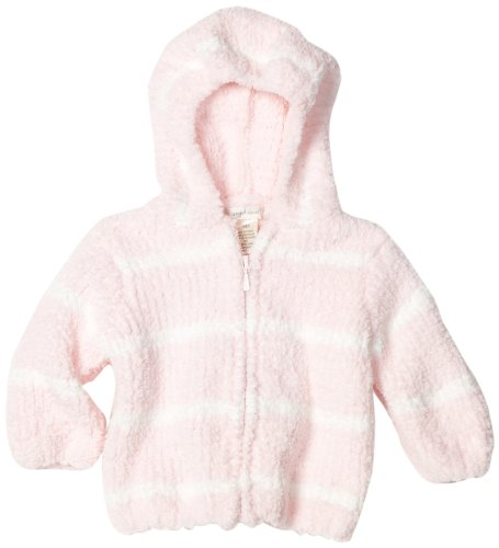(Angel Dear Baby-girls Infant Striped Chenille Hooded Jacket, Light Pink/Ivory, 0-6 Months)