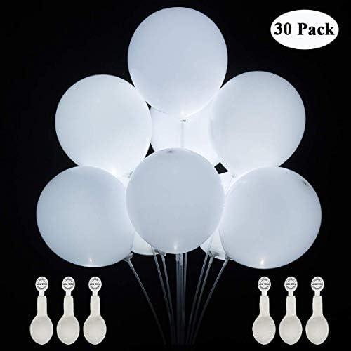 30パック LEDバルーン, LEDライトアップバルーン 誕生日、党、結婚式、祝祭の装飾、プールのためのリボンが付いている明るい気球