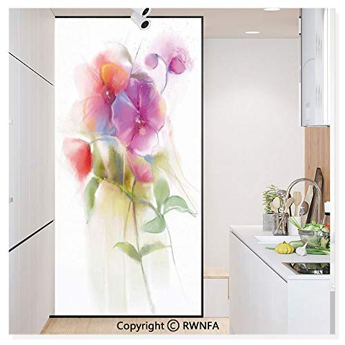 RWN Film Window Films Privacy Glass Sticker Blooming Orchid Spring Bouquet Romance Natural Beauty Fragrance Static Decorative Heat Control Anti UV 30In by 59.8In,Purple