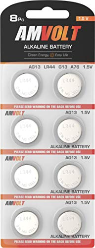 Button Cell Battery Alkaline - 8 Pack LR44 AG13 A76 Battery - [Ultra Power] Premium Alkaline 1.5 Volt Non Rechargeable Round Button Cell Batteries for Watches Clocks Remotes Games Controllers Toys & Electronic Devices (8 Pack)