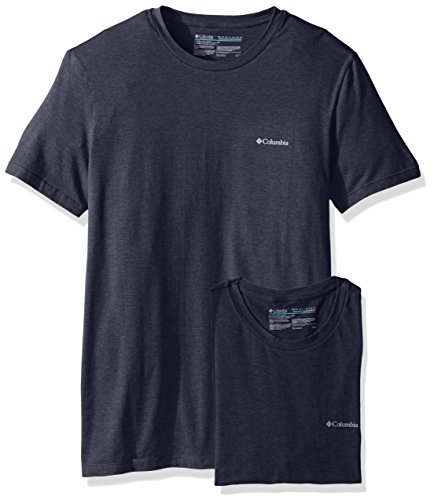 Columbia Men's 2-Pack Performance Cotton Stretch Crew Neck T-Shirt, India Ink/Blue, Large