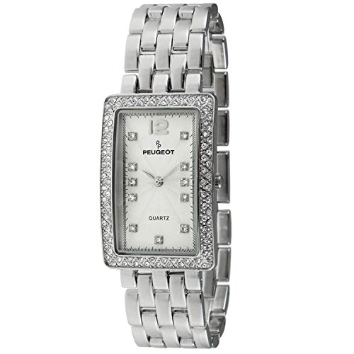 (Peugeot Women's Tank Shape Wrist Watch Analog Link Bracelet with Crystal Bezel)