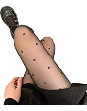 bibididi Vrouwen Zomer Zijdeachtige Panty Zoete Hart Drop Print Sheer Panty Lolita Kousing,Dunne Liefde Panty