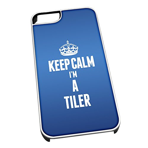 Bianco cover per iPhone 5/5S blu 2693 Keep Calm I m A Tiler