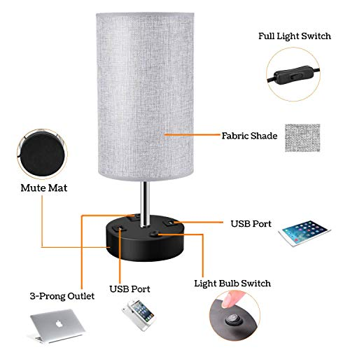 SUNVP Table Lamp, Linen Grey Cylinder Fabric Shade Bedside Desk Lamp with Dual USB Charging Port AC Outlet, Metal Black Base Noise Cancelling Nightstand Lamp for Bedroom Living Room Office 2 Pack