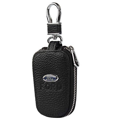car Key Chain Keychain,Genuine Leather Car Smart Key caseKey Chain Keychain Holder Metal Hook and Keyring Zipper Bag for Remote Key Fob (Ford)
