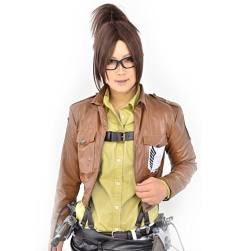 Price comparison product image Amybria Stylish Attack On Titan/Hanji Zoe Cosplay Wig With Clip On Ponytail Dark Brown