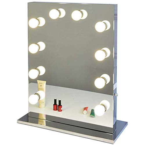 Chende Stainless Steel Vanity Mirror with Light Bulbs, Hollywood Style Lighted Makeup Mirror with Socket, Large Tabletop Wall Mounted Mirror