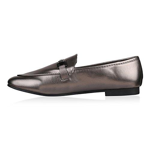 Stiefelparadies Damen Slippers Metallic Loafers Ketten Slip Ons Freizeit Schuhe Flandell Grau Metallic