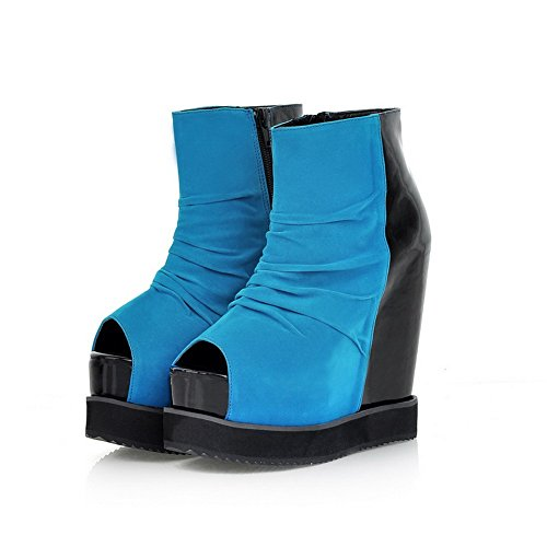 VogueZone009 Womens Open Peep Toe High Heel Wedge Platform Frosted Assorted Colors Boots, Blue, 5.5 UK