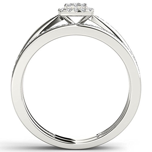 De Couer 10k White Gold 1/4ct TDW Diamond Halo Engagement Ring Set (I-J, I2)
