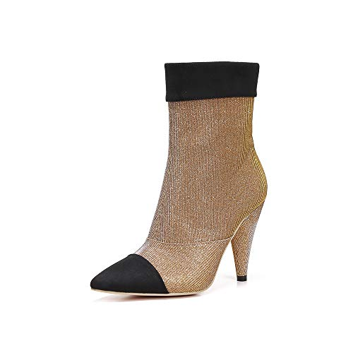 MACKIN J 239-1 Women Ankle High Cone Heel Cap Pointed Toe Mesh Booties Boots (7.5, Gold)
