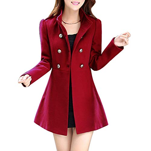 Manteaux Rouge Manches Femme Boutonnage Patchwork Longues Slim Longues Manteau Unicolore Trench Hiver breal Coupe Revers Fit Jacke Double zq1azTwn