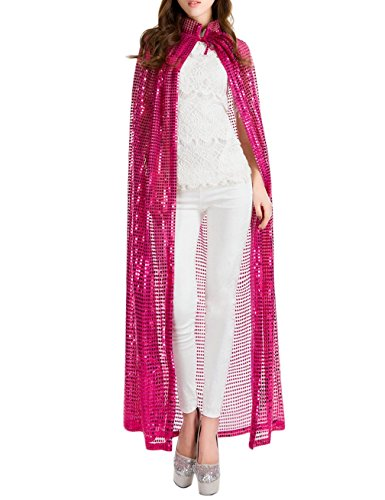 [Gameyly Women's Bling Halloween Party Costume Sequins Cape One Size Fuchsia] (Cheap Ladies Devil Costume)