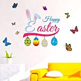 Easter Decorations Wall Stickers Egg Bunny Vinyl DIY Art Wall Decal Home Party Decor for Door, Window, Nursing Room, Kids Room (A, One Size)