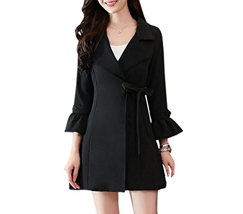 ACVIP Women Lapel Bell Sleeve Solid Overcoat Thick Outwear Coat with Belt (Chinese XL/Bust:37.8