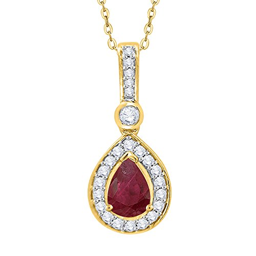 KATARINA Diamond and Pear Cut Ruby Fashion Pendant Necklace in 14K Yellow Gold (7/8 cttw, G-H, I2-I3)