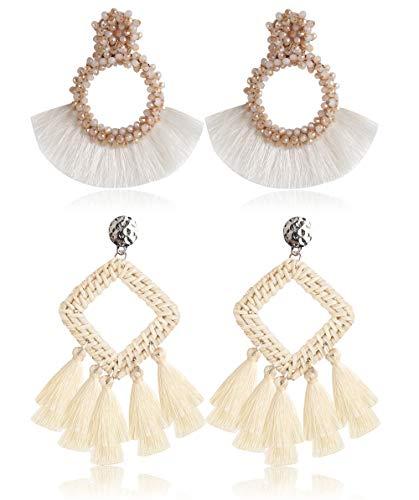 Finrezio 2Pairs Hoop Rattan Tassel Earrings for Women Bohemian Statement Handmade Beaded Earrings Woven Drop Dangle Earrings