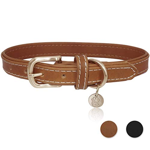 (BARKBAY Soft Touch Genuine Leather Collar Luxury Real Leather Collar for Medium Dog)