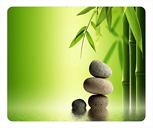 - Top Chinese Flowers Design Oblong Mouse Pad Bamboo and Stone