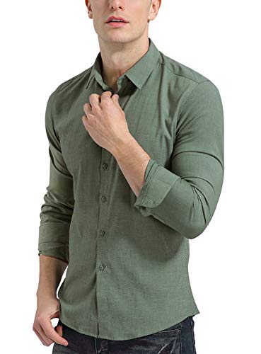 KOGO Men's Dress Shirts Slim Fit Solid Casual Button Down Iron Free Elastic Shirts (M (Shirt Chest 40-41 Inch), Grass Green) ()