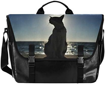 メッセンジャーバッグ メンズ 猫柄 海 斜めがけ 肩掛け カバン 大きめ キャンバス アウトドア 大容量 軽い おしゃれ