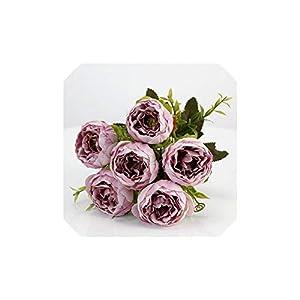 C-J-Shop 6 Heads/Bouquet Peonies Artificial Flowers Silk Peonies Bouquet White Pink Wedding Home Decoration Fake Peony Rose Flower,Soft Purple 56